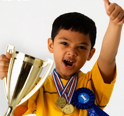 Boy with Trophy and Medals